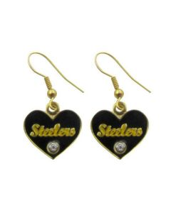 Pittsburgh Steelers Heart Script Earrings