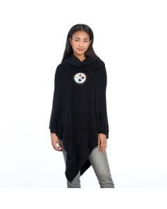 Pittsburgh Steelers Black Crystal Knit Poncho