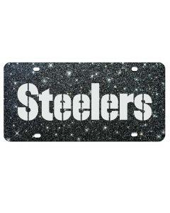 Pittsburgh Steelers Glitter Wordmark License Plate