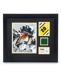 Pittsburgh Steelers #20 Rocky Bleier Framed Photo with a piece of Three Rivers Stadium Turf