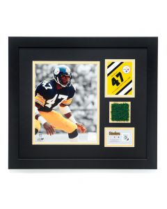 Pittsburgh Steelers #47 Mel Blount Framed Photo with a piece of Three Rivers Stadium Turf
