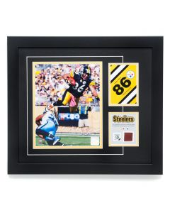 Pittsburgh Steelers #86 Hines Ward Framed Photo with a piece of Game-Used Football
