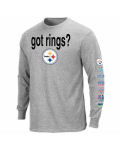 Pittsburgh Steelers Got Rings Longsleeve Grey T-Shirt-Extended Sizes