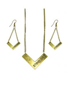 Pittsburgh Steelers Gold Chevron Necklace and Earring Set