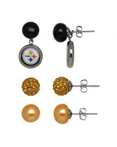 Pittsburgh Steelers Honora Pearl Stud Set Earrings