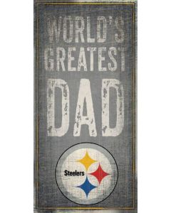 Pittsburgh Steelers 'World's Greatest Dad' Wood Sign