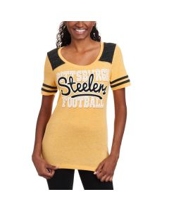Pittsburgh Steelers Women's New Era Glittering Football T-Shirt