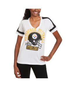 Pittsburgh Steelers Women's New Era White Tri-blend Helmet T-Shirt