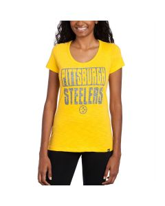 Pittsburgh Steelers '47 Women's Gold Scoop Short Sleeve T-Shirt