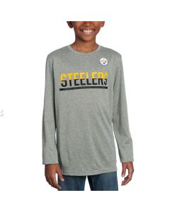 Pittsburgh Steelers Boys Sideline Grey Practice Long Sleeve T-Shirt