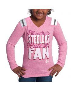 Pittsburgh Steelers Girls Biggest Fan Glitter Long Sleeve T-Shirt