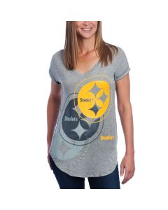 Pittsburgh Steelers Women's V Neck High Low Hem T-Shirt