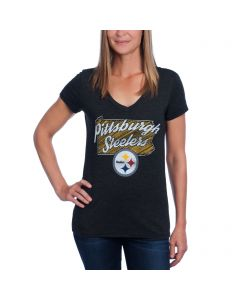 Pittsburgh Steelers Women's Short Sleeve Tri-Blend V-Neck T-Shirt