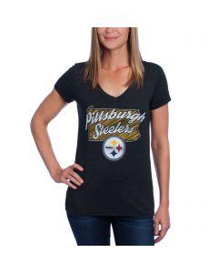 Pittsburgh Steelers Women's Short Sleeve Tri-Blend V-Neck T-Shirt