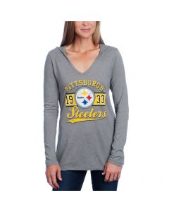 Pittsburgh Steelers Women's Long Sleeve Tri-Blend V-Neck Hoodie