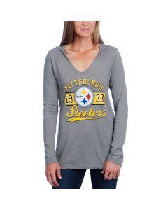 Pittsburgh Steelers Women's Long Sleeve Tri-Blend V-Neck Hoodie