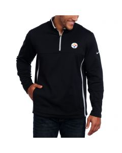 Pittsburgh Steelers Nike Black Fleece Therma Fit 1/2 Zip Cover-Up