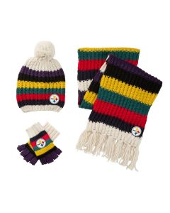 Pittsburgh Steelers Touch Women's Varsity Stripe Scarf, Hat, and Glove Combo