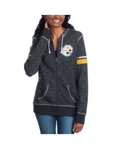 Pittsburgh Steelers Women's Majestic Athletic Tradition Full-Zip Fleece Hoodie