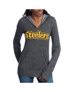 Pittsburgh Steelers Women's Double Face Stencil with Rhinestone Bling Hoodie
