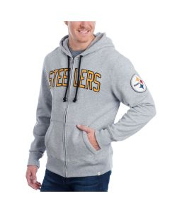 Pittsburgh Steelers '47 Full-Zip CROSS-CHECK Grey Fleece Hoodie