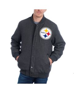 Pittsburgh Steelers GIII Grey Varsity Prestige Heavyweight Jacket