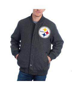 Pittsburgh Steelers GIII Grey Varsity Prestige Heavyweight Jacket