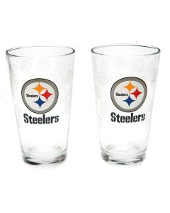 Pittsburgh Steelers Satin Etch Full Logo 2-Piece Pint Glass Set