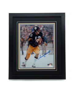Pittsburgh Steelers #12 Terry Bradshaw 'Cannon in the Snow' Signed 11x14 Framed Photo