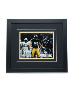 Pittsburgh Steelers #91 Kevin Greene Signed 'Sack and Celebration' 8x10 Framed Photo