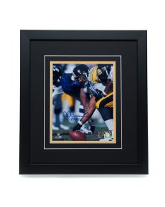 Pittsburgh Steelers #63 Dermontti Dawson Signed 'a Snap Away from the Hall of Fame' 8x10 Framed Photo
