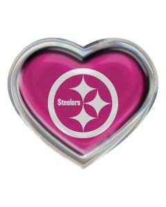 Pittsburgh Steelers Pink Heart Chrome Car Emblem