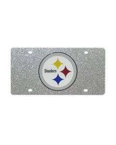 Pittsburgh Steelers Silver Glitter License Plate