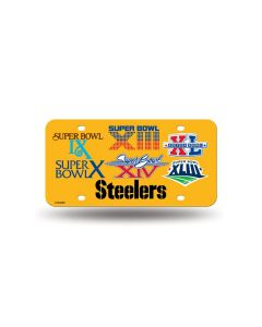 Pittsburgh Steelers Six-Time Super Bowl Champions Gold License Plate