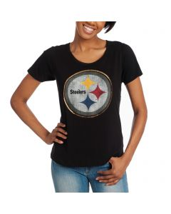 Pittsburgh Steelers '47 Women's Runback Short Sleeve Scoop T-Shirt