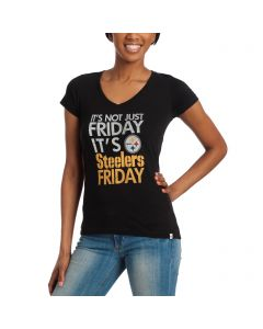 Pittsburgh Steelers Women's '47 Not Just Friday Black Shortsleeve T-Shirt