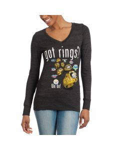 Pittsburgh Steelers Women's Got Rings Rhinestone Bling Black Longsleeve T-Shirt
