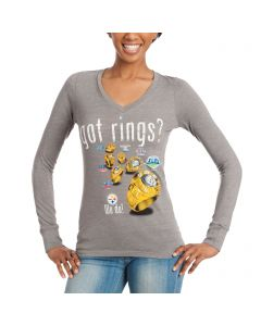 Pittsburgh Steelers Women's Got Rings Rhinestone Bling Grey Longsleeve T-Shirt