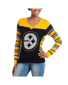 Pittsburgh Steelers Women's Lurex Thread V-Neck Sweater