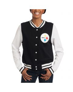 Pittsburgh Steelers Women's New Era Black Varsity Snap Front Jacket
