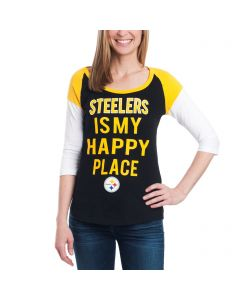 Pittsburgh Steelers Women's New Era Football Makes Me Happy T-Shirt