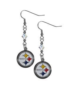Pittsburgh Steelers Crystal Logo Dangle Earrings