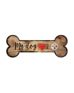 Pittsburgh Steelers 'My Dog Loves The Steelers' Wooden Dog Bone Sign