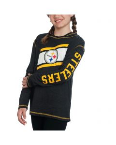 Pittsburgh Steelers Girls Super Hood Long Sleeve T-Shirt