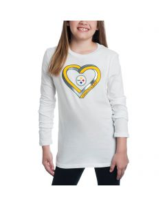 Pittsburgh Steelers Girls Infinite Heart Long Sleeve T-Shirt