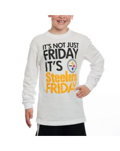 Pittsburgh Steelers Youth Not Just Friday White Longsleeve T-Shirt