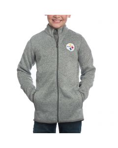 Pittsburgh Steelers Boys Full-Zip Grey Knit Sweater Fleece Jacket
