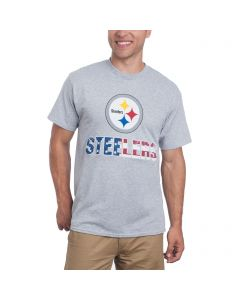 Pittsburgh Steelers Spirited Stripes Patriotic Grey T-Shirt