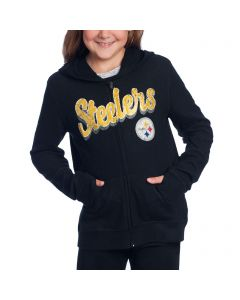 Pittsburgh Steelers Girl's New Era Glitter Knit Full Zip Hoodie