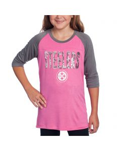Pittsburgh Steelers Girls New Era Raglan Pink T-Shirt